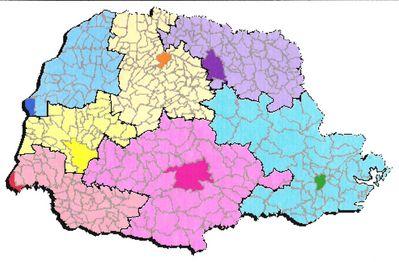 Mapa do Estado com as Regiões de atuação dos Grupos.
